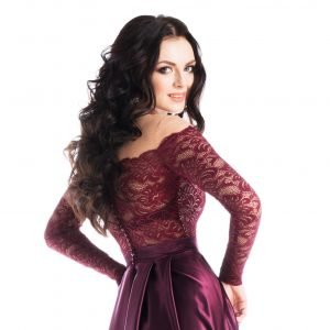 50721d64c2cdac7 Бордовое вечернее платье в пол с длинными рукавами